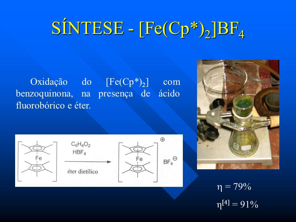 SÍNTESE - [Fe(Cp*)2]BF4Oxidação do [Fe(Cp*)2] com benzoquinona, na presença de ácido fluorobórico e éter.